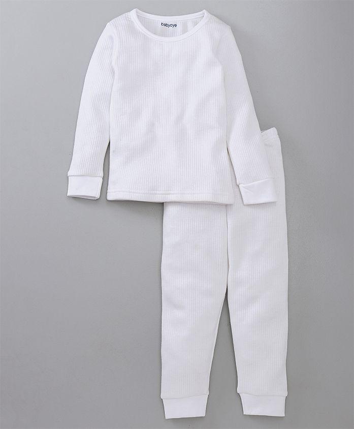 Babyoye Full Sleeves Solid Thermal Tee & Lounge Pant - White