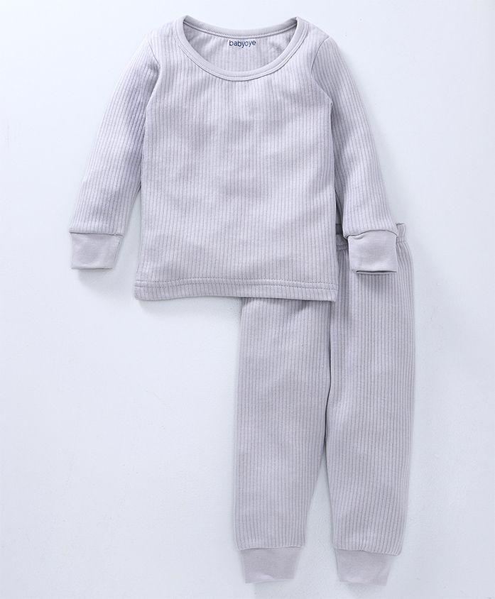 Babyoye Full Sleeves Solid Thermal Tee & Lounge Pant - Light Grey