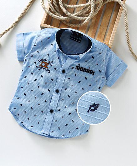 Enfance All Over Leaves Printed Shirt - Blue