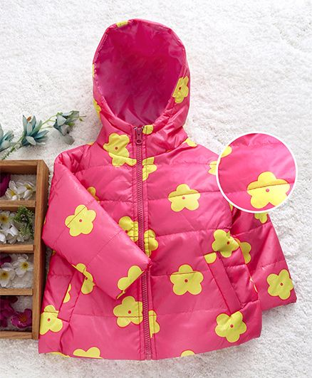 Babyhug Full Sleeves Jacket With Hood Floral Design - Pink