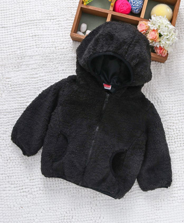 Babyhug Full Sleeves Fuax Fur Hooded Jacket - Black