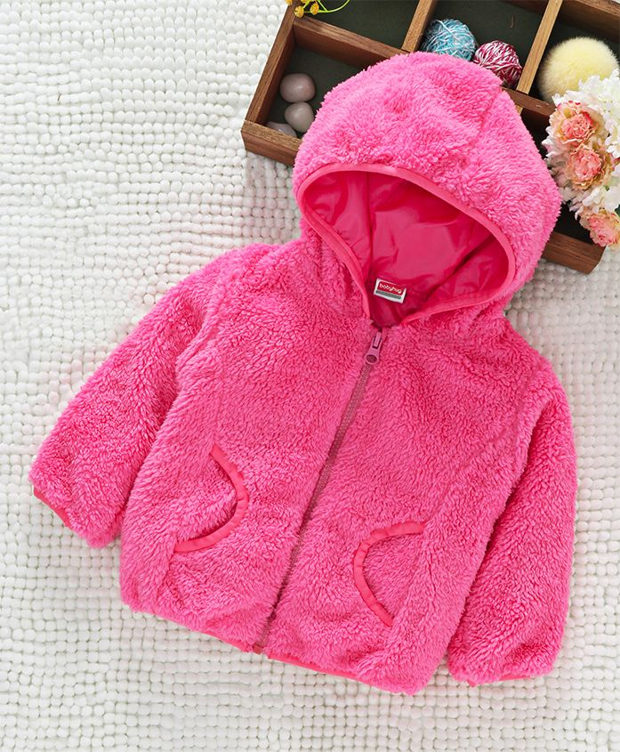 Babyhug Full Sleeves Fuax Fur Hooded Jacket - Light Pink