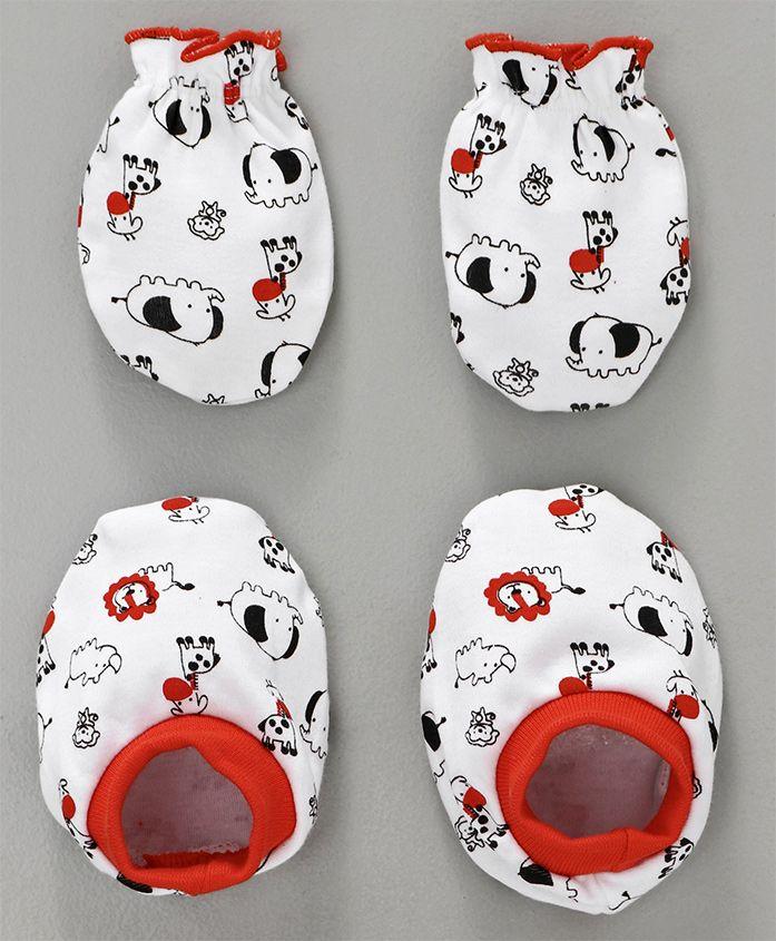 Babyhug Mittens & Booties Set Animal Print - White Red