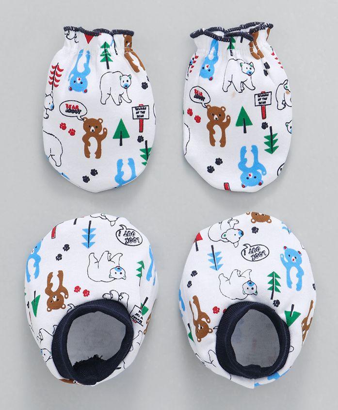 Babyhug Mittens & Booties Set Animals Print - Navy White