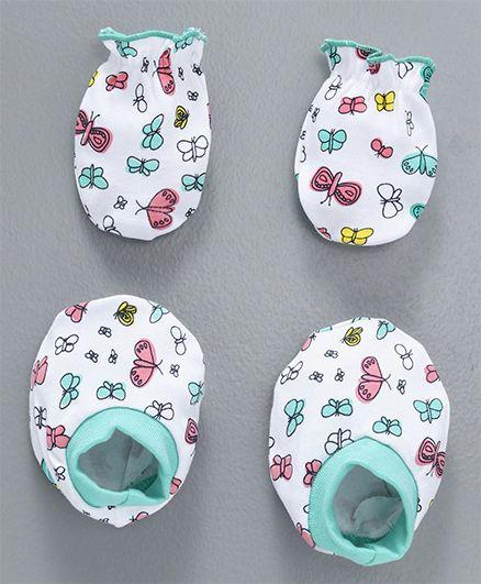 Babyhug Mittens & Booties Set Butterfly Print - White Sea Green
