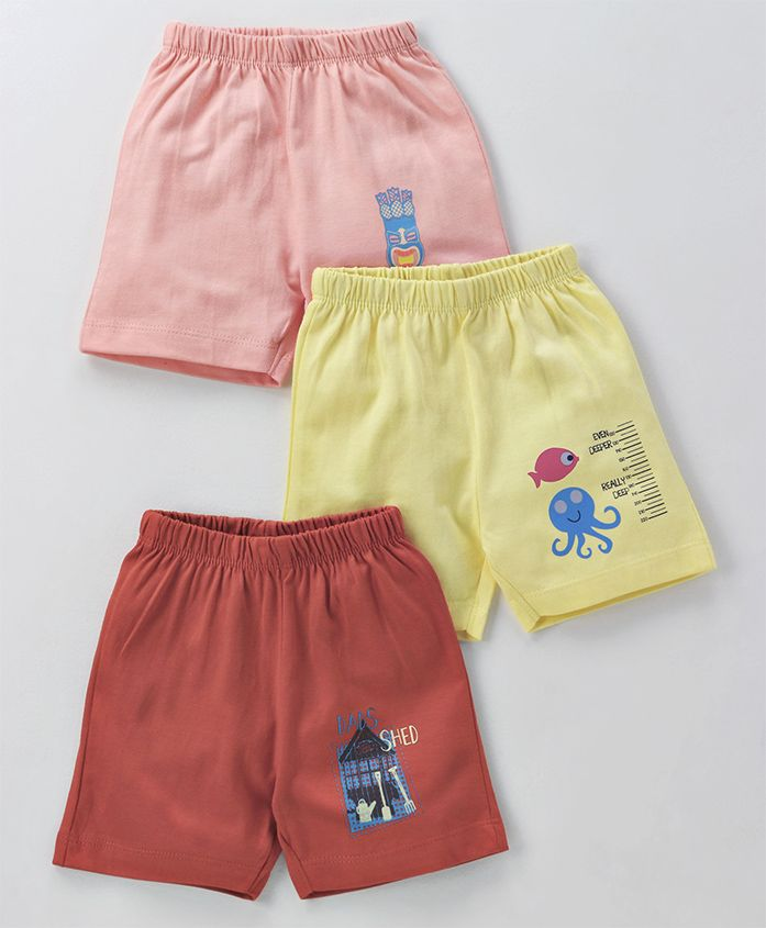 Ohms Shorts Multiprint Pack of 3 - Pink Coral Yellow