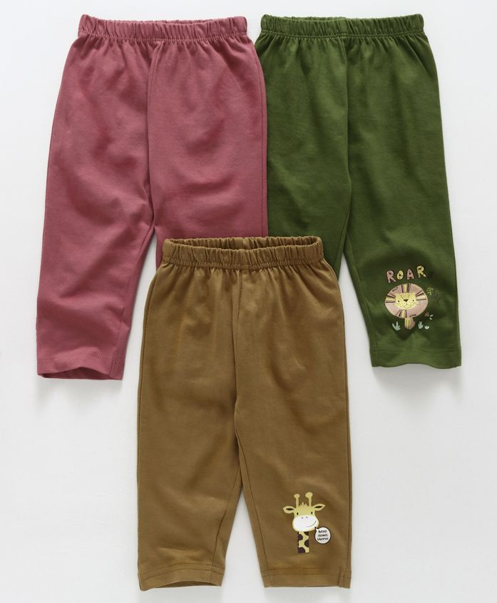 Ohms Full Length Lounge Pants Pack of 3 - Pink Green Brown