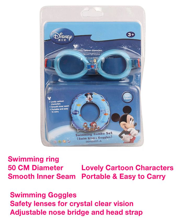 Disney Mickey Mouse Swimming Ring & Goggles Combo Set - Blue