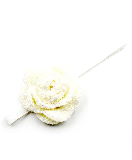 Magic Needles Elastic Hairband With Crochet Flower - White