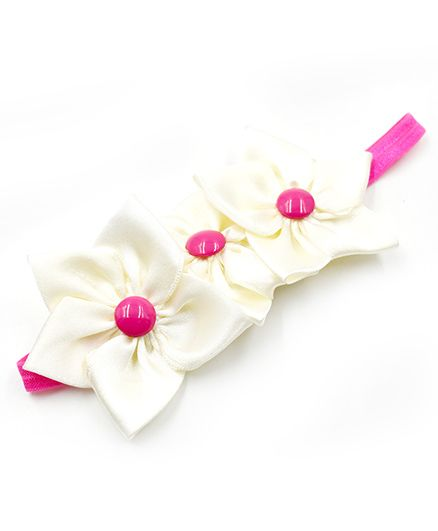 Magic Needles Elastic Hairband With 3 Flowers - Off White