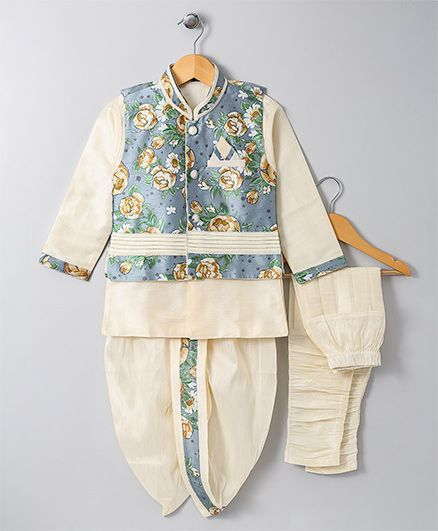 Jeet Ethnics Jacket Kurta Breeches and Dhoti Set - Off White