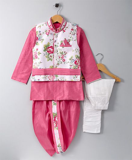 Jeet Ethnics Jacket Kurta Breeches and Dhoti Set - Pink