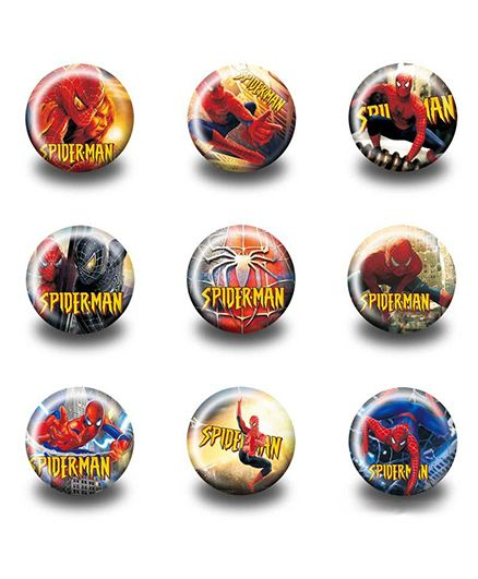 Funcart Spider Man Design Badges Pack of 3 ( Design may vary)