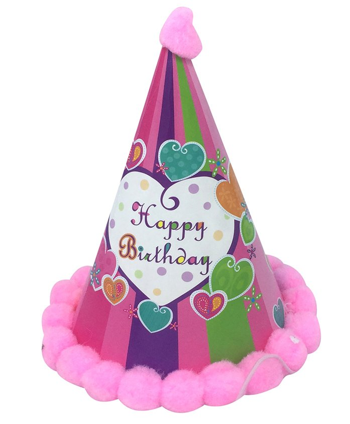 Funcart Happy birthday Striped Cone Shape Heart Print Cap - Pink
