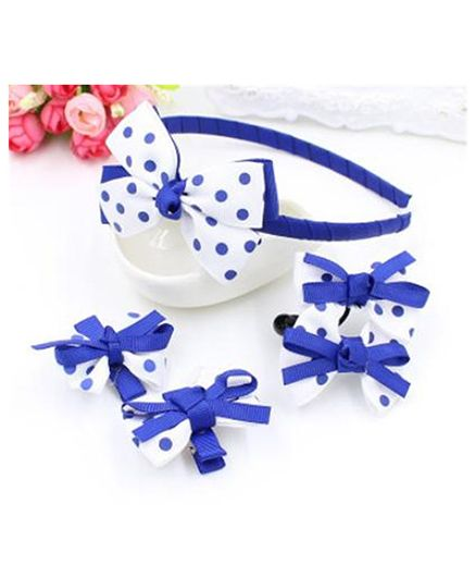 Little Palz Hair Accessories Polka Print Set Of 5 - White Blue