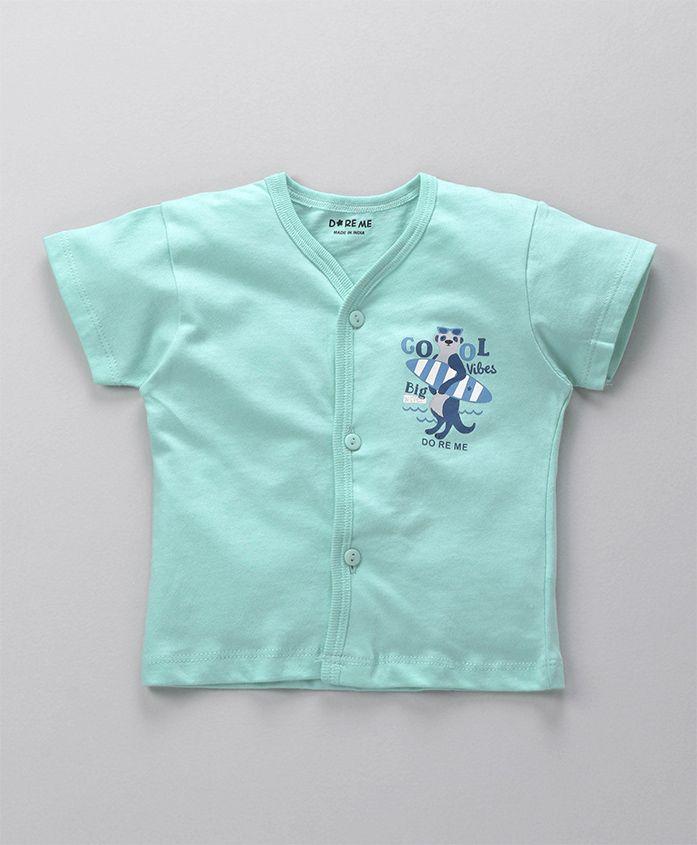 Doreme Half Sleeves Vest Animal Print - Blue