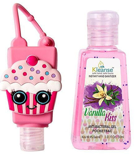 Kleanses Anti Bacterial Vanilla Hand Sanitizer With Cupcake Shape Holder - 30 ml