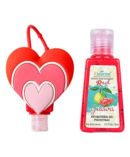 Kleanses Anti Bacterial Guava Hand Sanitizer With Heart Shape Holder - 30 ml