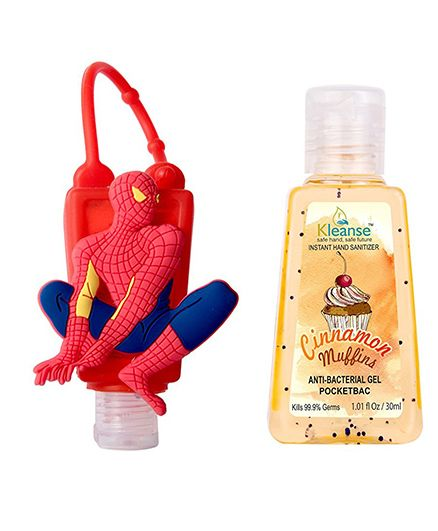 Kleanses Anti Bacterial Cinnamon Hand Sanitizer With Spider Man Shape Holder - 30 ml
