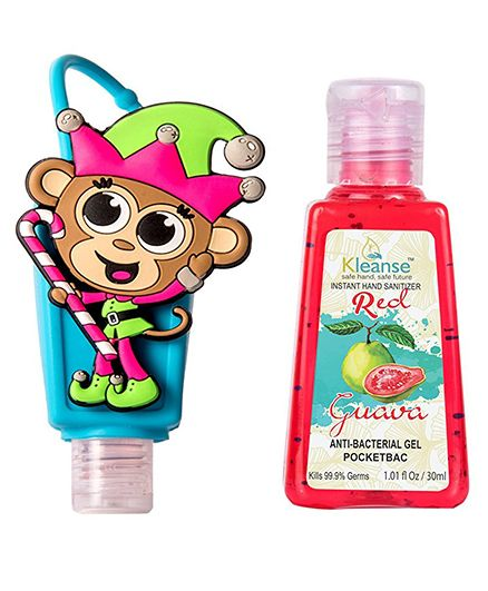 Kleanses Anti Bacterial Guaava Hand Sanitizer With Monkey Shape Holder - 30 ml