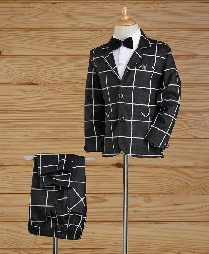 Enfance Full Sleeves Checked Party Suit - Black