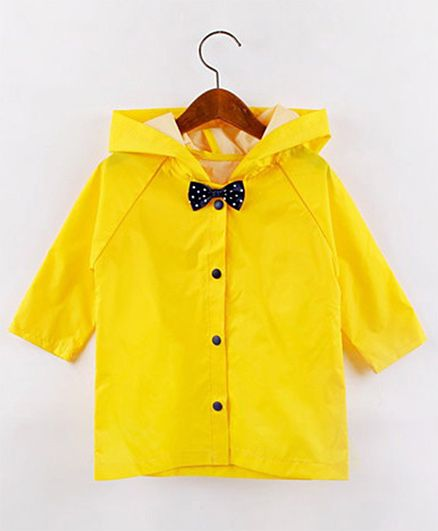 Pre Order - Awabox Solid Raincoat With A Bow - Yellow
