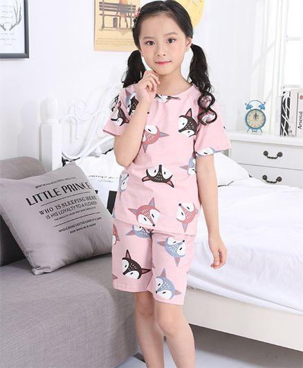 Pre Order - Awabox Dog Face Print Nightwear Set - Light Pink