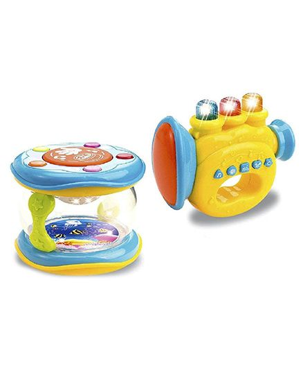 Toys Bhoomi Trumpet & Drum Musical Instrument Toy - Multi Color