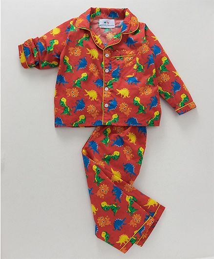 Knitting Doodles Dino Print Night Suit - Red