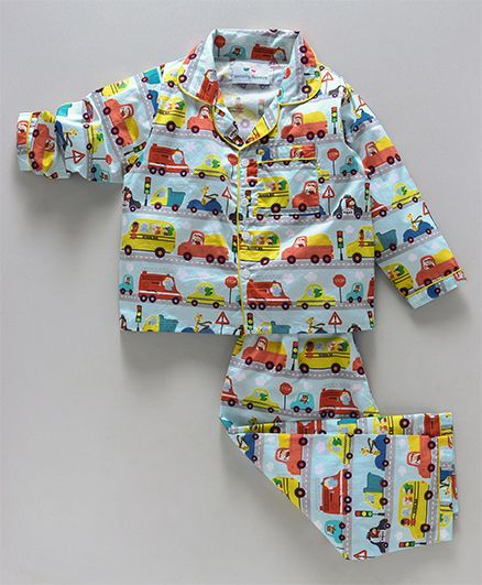 Knitting Doodles Vehicles Print Night Suit - Blue