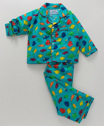 Knitting Doodles Fishes Print Night Suit - Blue