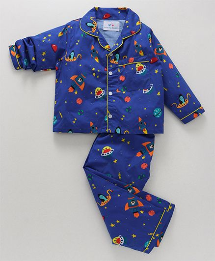 Knitting Doodles Space Print Night Suit - Dark Blue