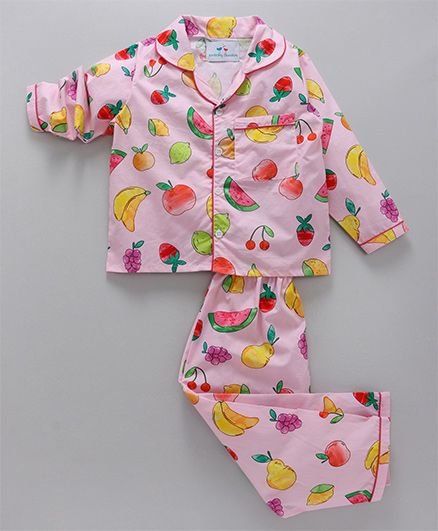 Knitting Doodles Fruits Print Night Suit - Pink