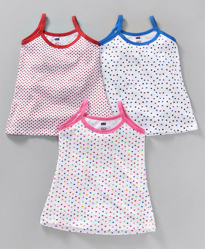 Simply Slips Heart & Star Print Pack of 3 - Pink Red Blue
