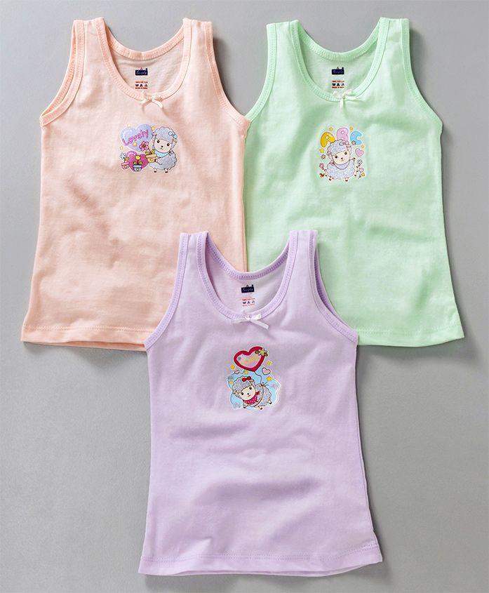 Simply Sleeveless Slips Sheep & Floral Print Pack of 3 - Peach Green & Purple