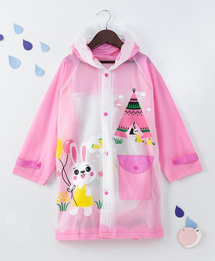 Full Sleeves Hooded Raincoat Bunny Print - Pink