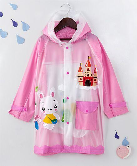 Full Sleeves Hooded Raincoat Bunny & Castle Print - Pink