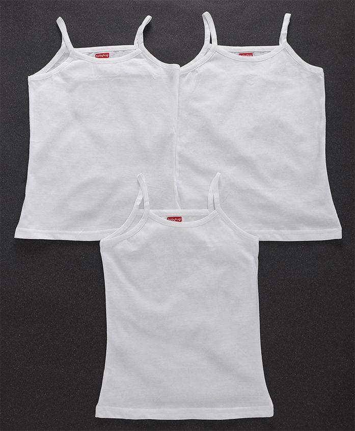 Babyhug Solid Colour Singlet Slips Pack of 3 - White