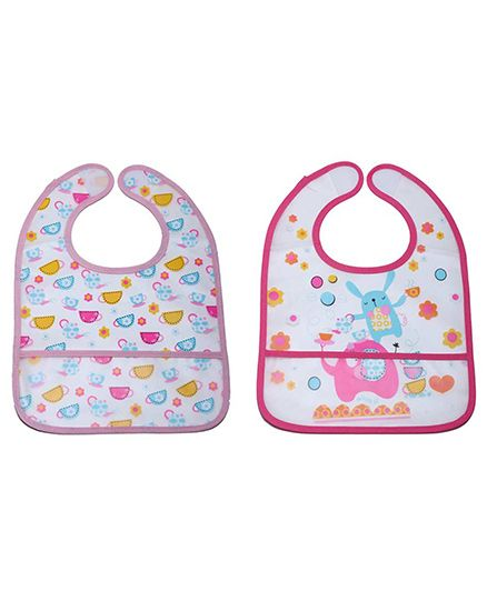 Little Hip Boutique Pink Flower & Cuppy Print Crumb Catcher Set - Pink & Baby Pink