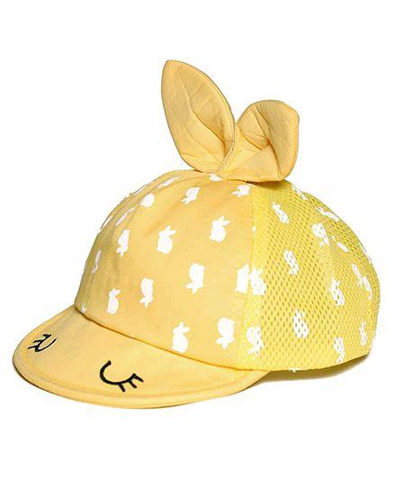 Little Hip Boutique Cute Bunny Eyes Cap - Yellow