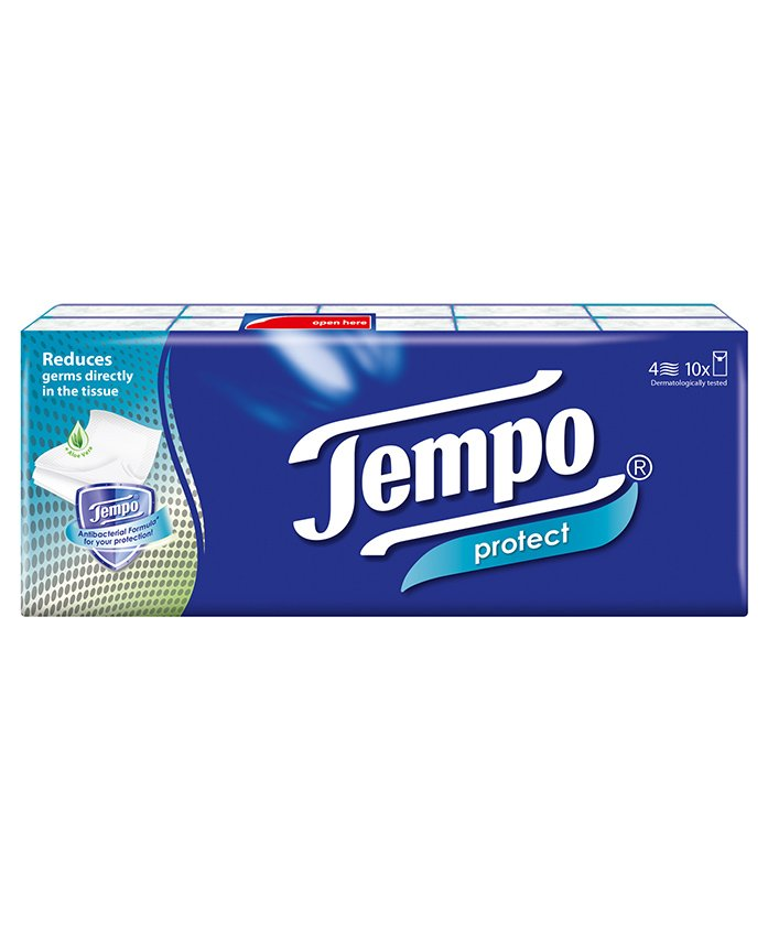 Tempo Protect Handkerchief Tissues - Pack of 10