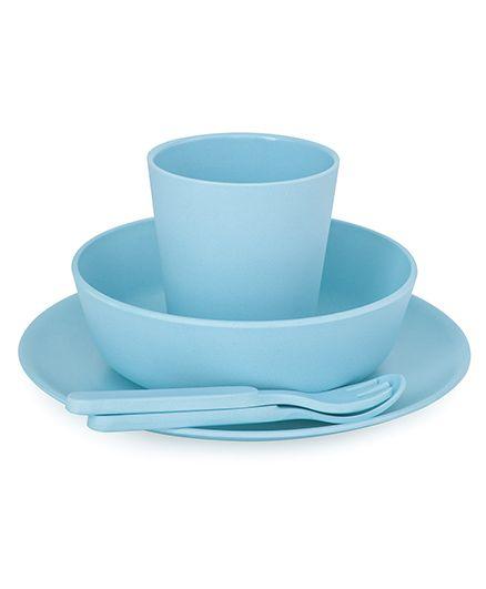 Bobo&Boo Bamboo Dinnerware Set of 5 - Aqua Blue