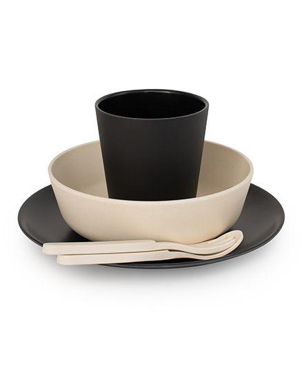 Bobo&Boo Bamboo Dinnerware Set of 5 - Black & Cream