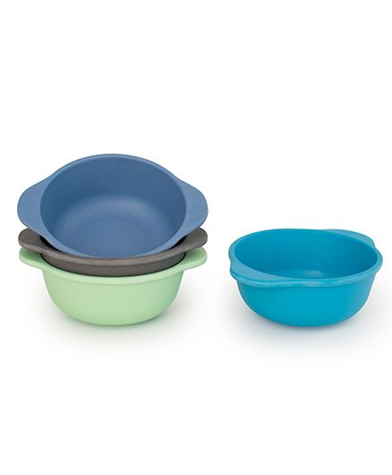 Bobo&Boo Bamboo Snack Bowls With Handles Set of 4 - Blue Green Grey