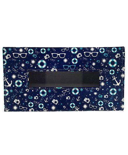 The Crazy Me Tissue Box Anchor & Specks Print - Navy