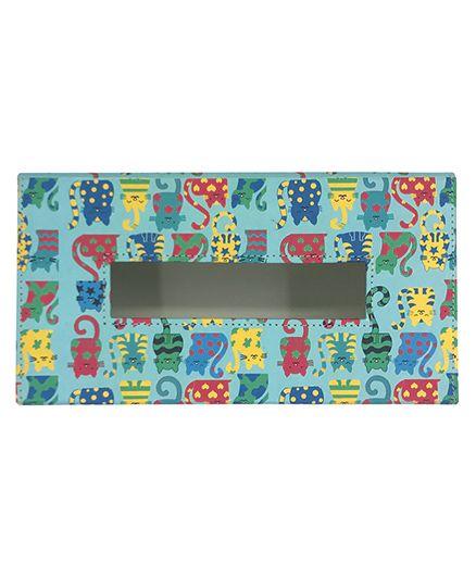 The Crazy Me Tissue Box Holder Cat Print - Blue & Multi Colour