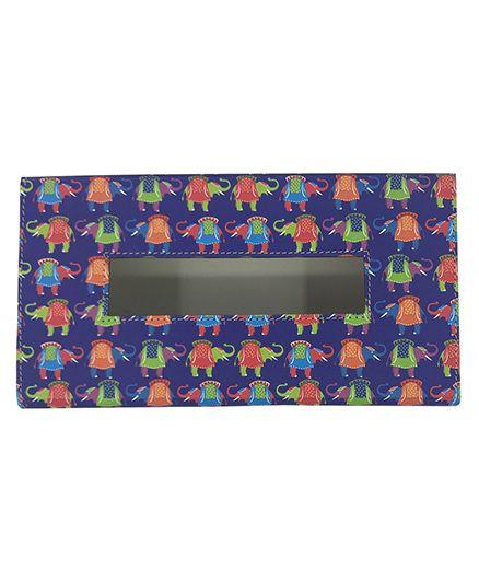 The Crazy Me Tissue Box Holder Elephant Print - Multi Colour