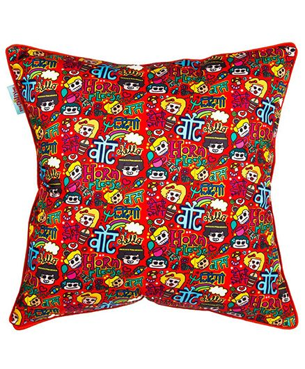 The Crazy Me Cushion Cover Horn Ok Please Print - Red
