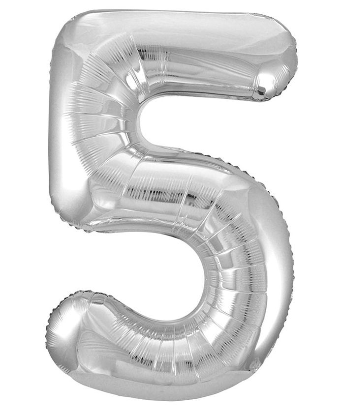 Party Anthem Number 5 Foil Balloon- Silver