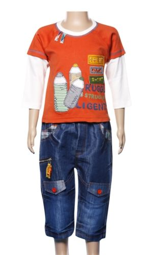 Full Sleeves T-shirt and 3/4th Denim Trouser Set